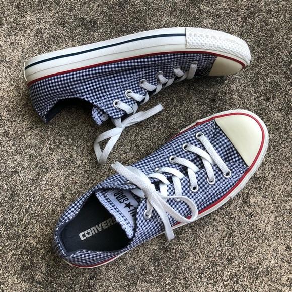 33de98c5ec88 Converse Shoes - Blue Checkered Gingham Converse Chucks M 8   W 10